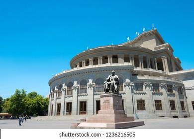 Yerevan, Armenia - Jun 06 2018- Yerevan Opera Theatre. a famous landmark in Yerevan, Armenia.