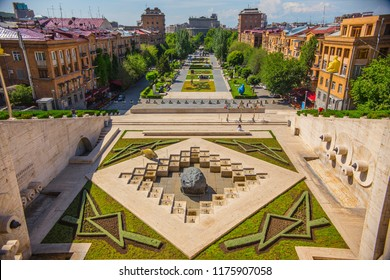 YEREVAN, ARMENIA - June 2018: Aerial view of Yerevan city from the Cascade art complex viewpoint in Yerevan, Armenia