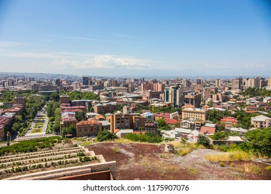 YEREVAN, ARMENIA - June 2018: Aerial view of Yerevan city from the Cascade art complex viewpoint in Yerevan, Armenia