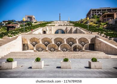 YEREVAN, ARMENIA - June 2018: Historical Cascade art complex in Yerevan, Armenia