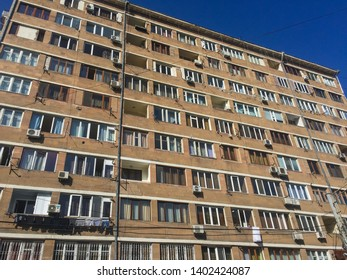 Yerevan, Armenia, March 2018: Façade of a soviet style residential block of apartments  in center Yerevan.