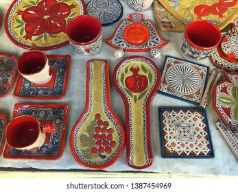Yerevan Armenia, March 2018: Traditional hand made Armenian ceramics, for sale at an arts and crafts shop in the center of Yerevan.