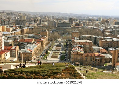 YEREVAN, ARMENIA - MARCH 28, 2011: Aerial view of Yerevan center with Cascade alley, France square and Opera theater from the upper level of Cascade monument