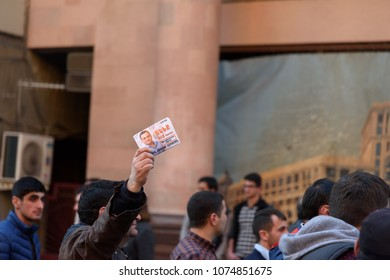 Yerevan, Armenia - March 30, 2017: Political rally of Yelk coalition on 30 March 2017 few days before parliamentary elections in Armenia.
