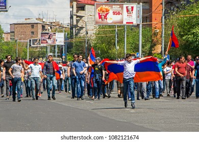 Yerevan, Armenia - May 02, 2018: Peaceful antigovernment protests against the ruling Republican Party (HHK) organized by Nikol Pashinian. Demonstrators blocked the streets of the city