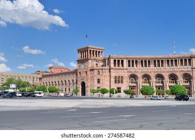 YEREVAN, ARMENIA - MAY 2, 2015: The Government House. Holds the main offices of the Government of Armenia. Located on Republic Square , the large central town square in Yerevan, Armenia