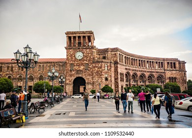 YEREVAN, ARMENIA - May 2018: Government Building with clock in front of the fountain on Republic Square of Yerevan, Armenia