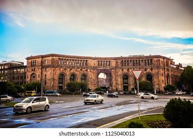 Yerevan, Armenia - May 2018: Government building in the center of Yerevan, Republic Square, Armenia