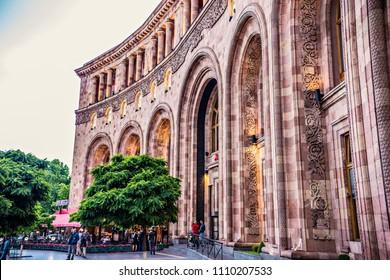 YEREVAN, ARMENIA - May 2018: Historical building on Republic square, center of Yerevan, Marriott hotel at Yerevan downtown, Armenia