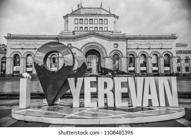 "YEREVAN, ARMENIA - May 2018: ""I love Yerevan"" monument on the Republic square in Yerevan downtown, Armenia"