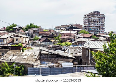 YEREVAN, ARMENIA - May 2018: Old houses in center of Yerevan city. Slums in Yerevan, Armenia