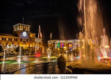 YEREVAN, ARMENIA - May 2018: Singing Fountains at Republic Square in Yerevan center, Yerevan fountains by night, Armenia