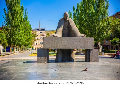 YEREVAN, ARMENIA - May 2018: Statue of Alexander Tamanyan in front of Cascade Complex. Alexander Tamanian was a Russian-born Armenian neoclassical architect.