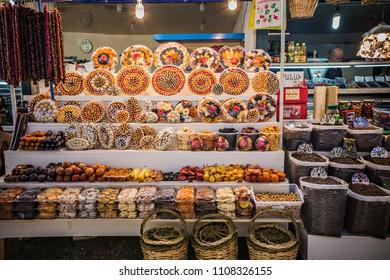 YEREVAN, ARMENIA - May 2018: Tashir market in Yerevan, big choice of dry fruits on the counter, Yerevan, Armenia