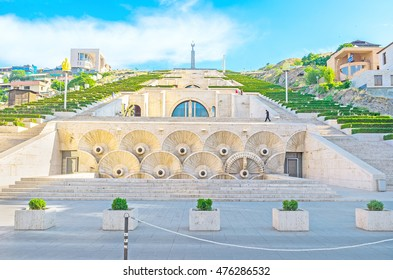 YEREVAN, ARMENIA - MAY 29, 2016: The first level of the monumental stairway of Cascade, with the stone fountains and carved reliefs, on May 29 in Yerevan.
