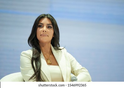 YEREVAN, ARMENIA - OCROBER 08, 2019 Kim Kardashian is giving a speech in Armenia during the WCIT forum