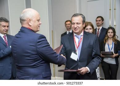 Yerevan, Armenia - October 14, 2016: International Forum of Eurasian Partnership. During IFEP numerous documents were signed