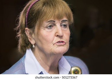 Yerevan, Armenia - October 15, 2016: International Forum of Eurasian Partnership. Baroness Caroline Cox. Member of the British House of Lords, Vice President of the Royal College of Nursing Founder