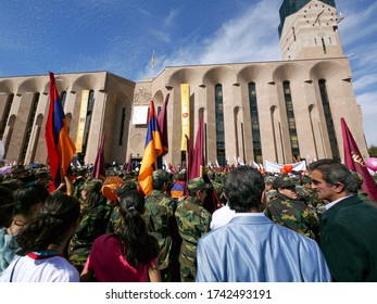 Yerevan, Armenia, October 2012: Crowds stand outside Yerevan Municipality holding Armenian flags & balloons while waiting for the speech of the Mair during Yerevan´s anniversary celebrations.