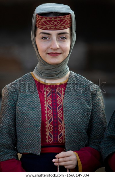 YEREVAN, ARMENIA - OCTOBER 31, 2019: Portrait of Armenian woman in national costumes, in Yerevan, Armenia