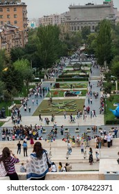 YEREVAN, ARMENIA - SEPTEMBER 21, 2017: Yerevan Cascade and the giant stairway in Yerevan. Armenia. One of the most important sights in Yerevan, a place for walks and meetings of youth and adults