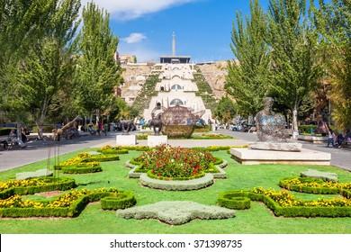YEREVAN, ARMENIA - SEPTEMBER 28, 2015: The Cascade is a giant stairway in Yerevan, Armenia.