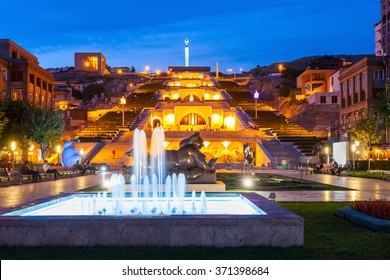 YEREVAN, ARMENIA - SEPTEMBER 29, 2015: The Cascade and park at night. It is a giant stairway in Yerevan, Armenia.