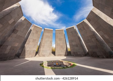 YEREVAN, ARMENIA - SEPTEMBER 29, 2015: Inside Tsitsernakaberd - The Armenian Genocide memorial complex, it is Armenia memorial dedicated to the victims of the Armenian Genocide.