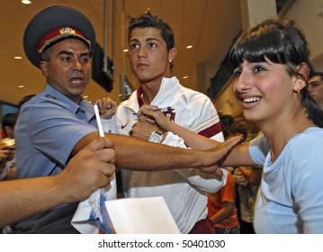 YEREVAN - AUGUST 20: Cristiano Ronaldo, Portugal football star arrives at Armenia's Zvartnots Airport for UEFA EURO2008 Group 9 Qualifying match, Armenia-Portugal. August 20, 2007, in Yerevan, Armenia