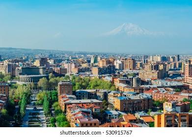 Yerevan morning cityscape with Ararat view, Armenia