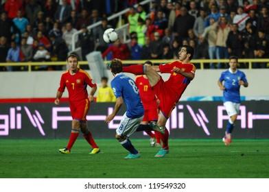 YEREVAN - OCT. 12:Henrikh Mkhitaryan  of Armenian National Team during the match Armenia-Italy 1:3 2014 FIFA World Cup qualification round October 12, 2012, Hrazdan stadium, Yerevan, Armenia