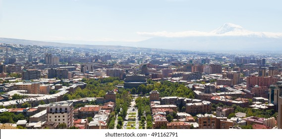 Yerevan on view at the foot of Mount Ararat. View from the bird's flight.