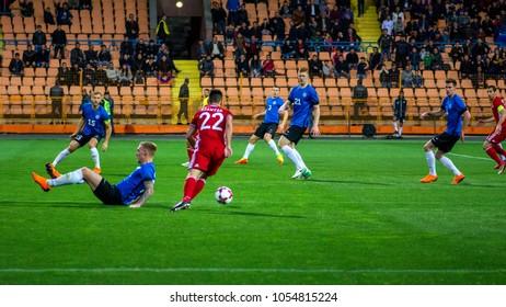 Yerevan (Republican stadium after Vazgen Sargsyan), Armenia - March 24, 2018: Football, Armenia (in red) vs Estonia, 0 - 0, Friendly International Matches. Football tense scene