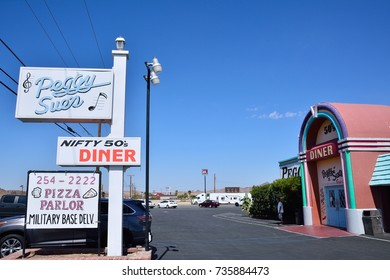 Yermo, Usa - July 26, 2017: Peggy Sue's 50's Dinner. Traditional American Dinner on road to Las Vegas.