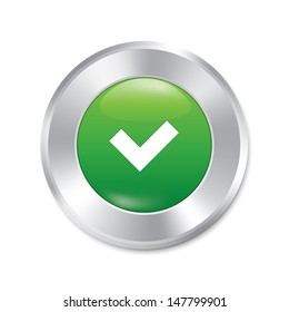 Yes button. Accept red round sticker. Realistic metallic correct icon with gradient. Isolated.