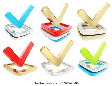 Yes check tick glossy emblem icon over checkbox pile isolated on white background, set of six