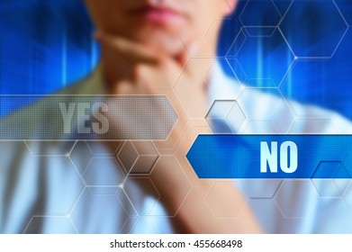 """""""Yes or No"""" concept image. Yes and no buttons, Person thinking over the choice."""