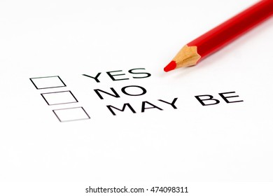 yes, no, may be check list