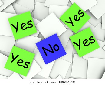 Yes No Notes Showing Affirmative Or Negative