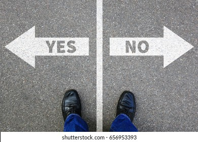 Yes no right wrong answer business concept solution decision decide choice
