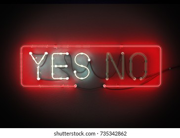 Yes or No sign made from neon alphabet on a black background. 3D illustration