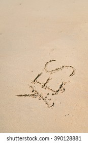 Yes sign written in sand on beach texture sunny background. Closeup