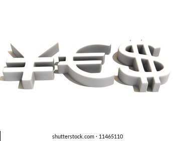 YES from signs yen, dollar and euro. 3d
