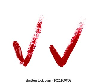 Yes tick mark sign made with a paint stroke isolated over the white background, set of two different versions