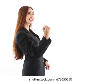 Yes! Victory! Happy excited successful business Asian woman in black suits, Positive human emotion, isolated on white background.Concept about success in business.