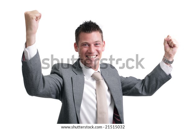 yes! young, handsome businessman showing excitement of a successful deal,interview,presentation.. isolated over white background