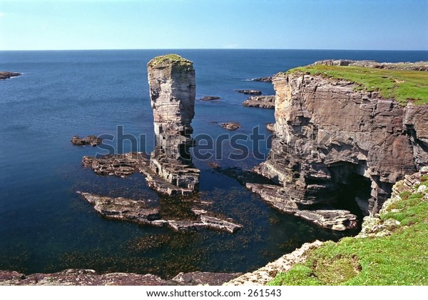 Yesnaby Castle, a rock stack in Orkney, Scotland