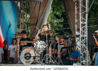 Yessentuki, Stavropol Territory / Russia - August 12, 2017: drumfest drummers festival.musician on stage playing drumsticks on drums Outdoors
