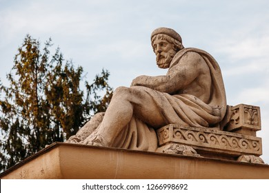 Yessentuki, Stavropol Territory / Russia - May 14, 2018: Semashko mud baths. sculpture ancient Greek God of healing Asclepius (Aesculapius)