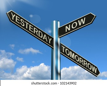 Yesterday Now Tomorrow Signpost Shows Schedule Diary Or Plan